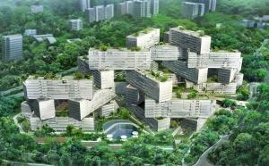 Своеобразный жилой комплекс был построен в Сингапуре. Внешне сооружение походит на собранный из детского конструктора объект. Все представления о том, как должны выглядеть жилые комплексы, просто рассыпаются в пух и прах. Блоки смонтированы хаотично и стоят друг на друге. Здание уже готово. Внутри идут работы по отделке.