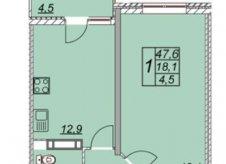 1-к квартира, 47.6 м², 3/14 эт.