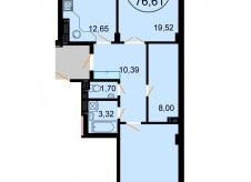 Двухкомнатная квартира 77 квадратных метров.