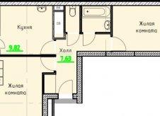 2-к квартира, 58 м², 9/21 эт.