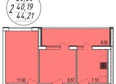 2-к квартира, 44.2 м², 3/4 эт.