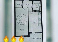1-к квартира, 45 м², 16/17 эт.