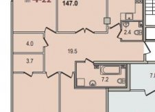 4-к квартира, 147 м², 2/8 эт.