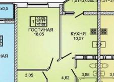 1-к квартира, 42 м², 8/20 эт.