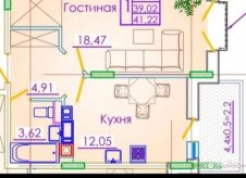 1-к квартира, 41.2 м², 5/7 эт.