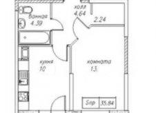 1-к квартира, 35.5 м², 3/23 эт.