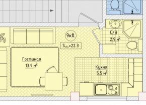 1-к квартира 22.30 м², 3/3 эт.